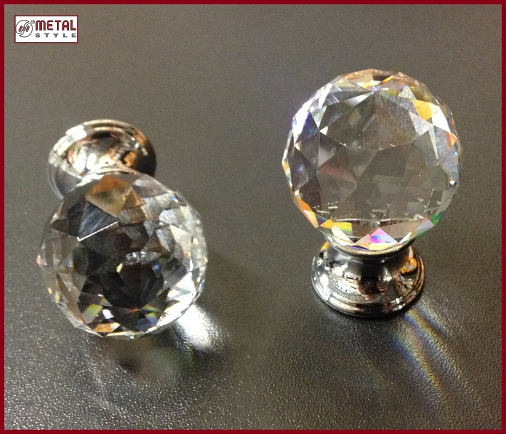 Pomolo cristallo sfera/cromo