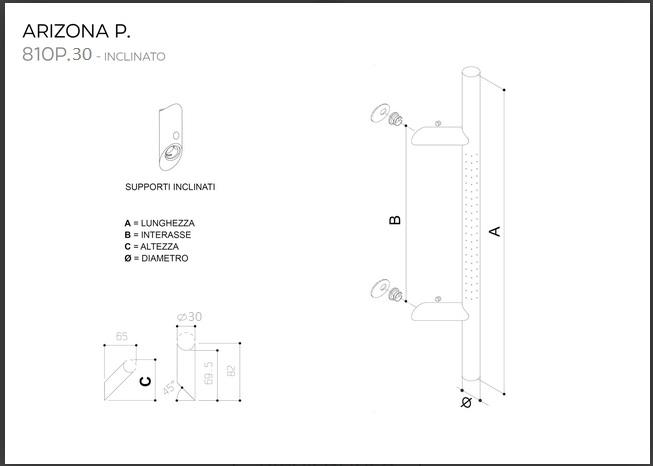 Maniglione in acciaio INOX modello ARIZONA P. 810P.30 inclinato