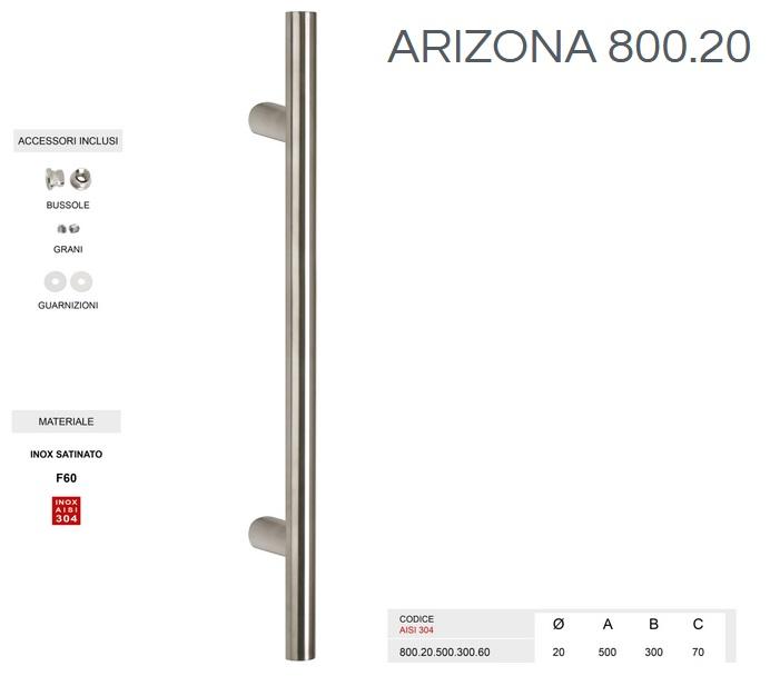 Maniglione Arizona 800.20 inox satinato da 500mm