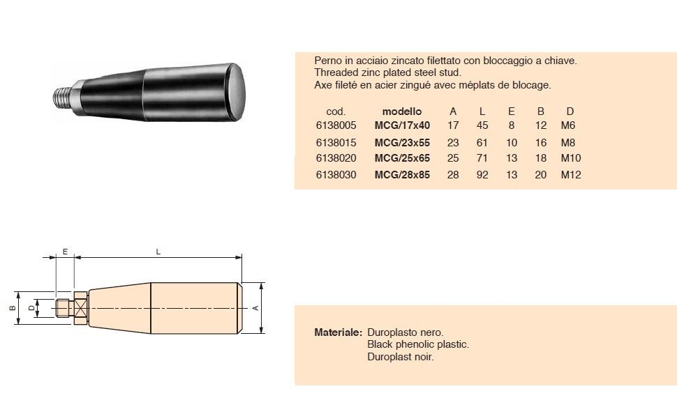 Manopola cilindrica filettata girevole MCG Gamm