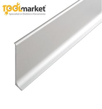 Battiscopa in alluminio anodizzato argento 60mm