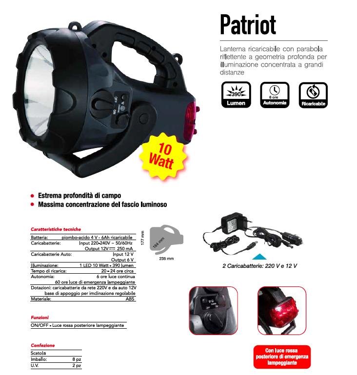 Lanterna ricaricabile da lavoro PATRIOT - CFG