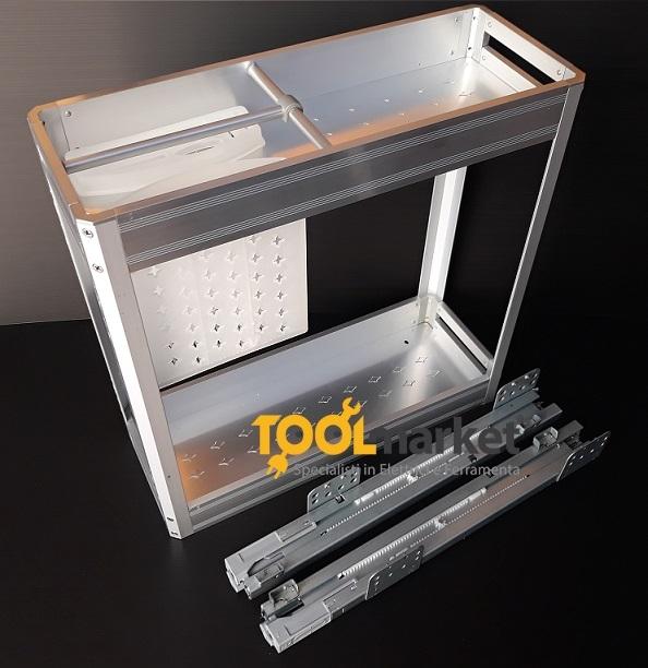Cestello in alluminio da cm15,5 a 2 piani