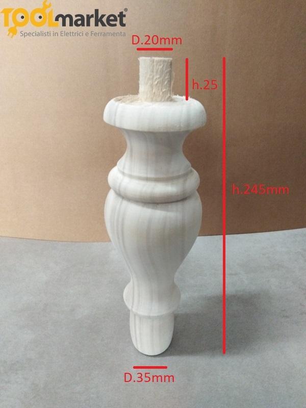 Piede in legno per mobili 245x35