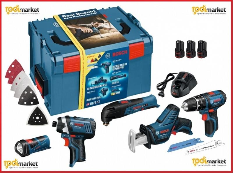 set litio 5 utensili BOSCH GSR10,8+GDR10,8+GOP10,8+GSA10,8+GLI10,8 + 3 batterie