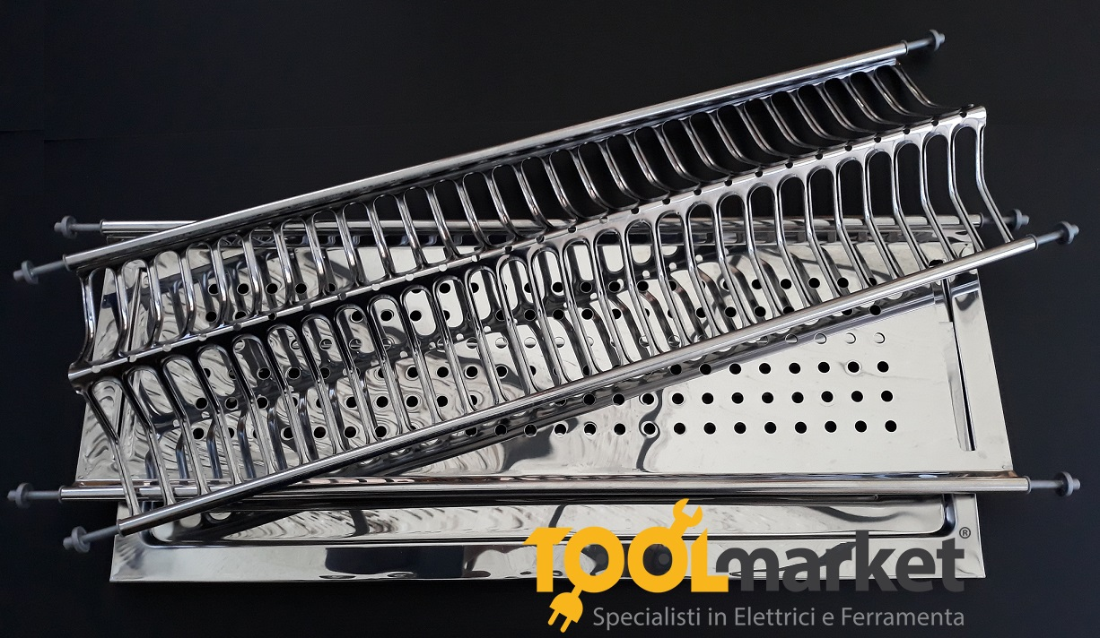 Scolapiatti Inox completo di vaschetta cm86 per moduli 90