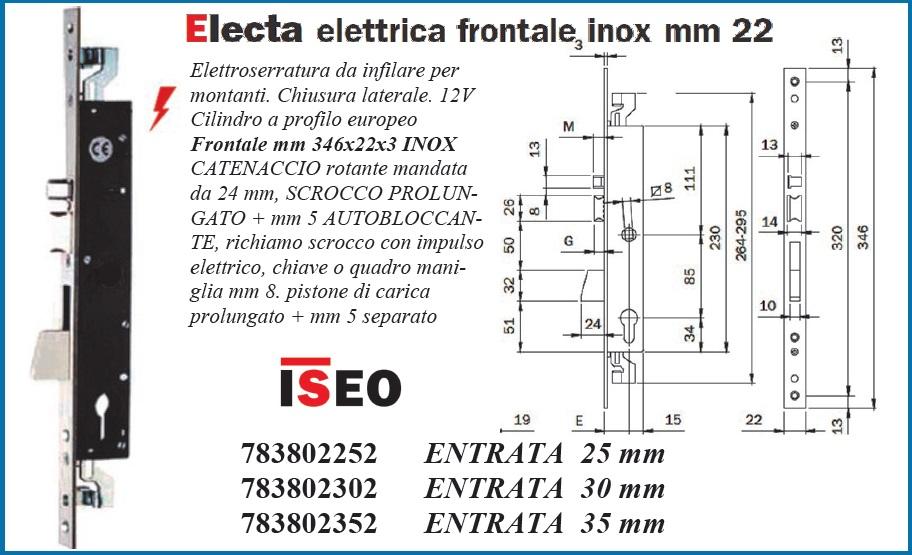 Serratura montante elettrica triplice Iseo 783802