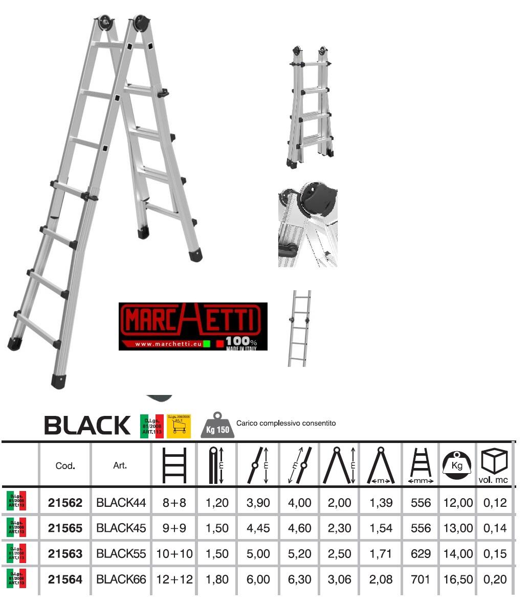 Scala telescopica estensibile  Black Marchetti