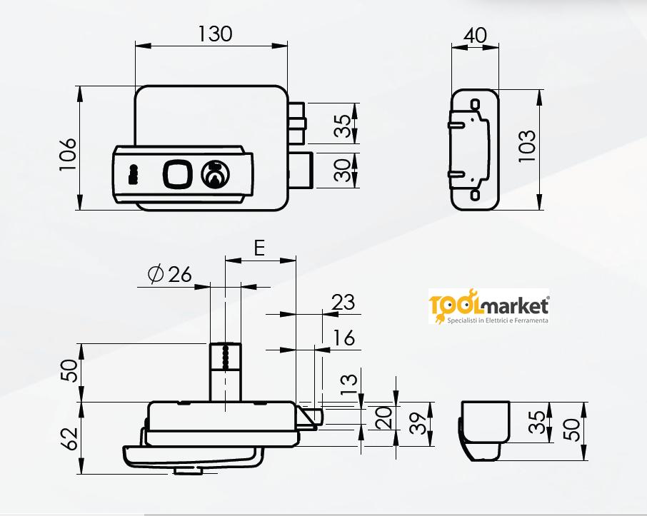 Elettroserratura da applicare per cancelli SERIE 53N - ISEO