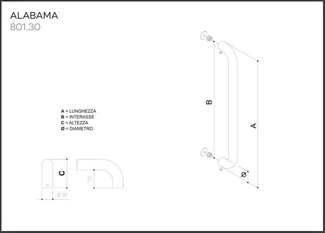 Maniglione in acciaio INOX modello ALABAMA 801.380.350