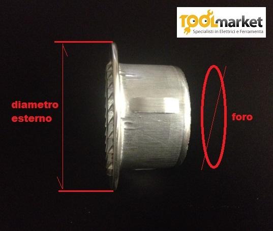 Griglia alluminio tonda incasso