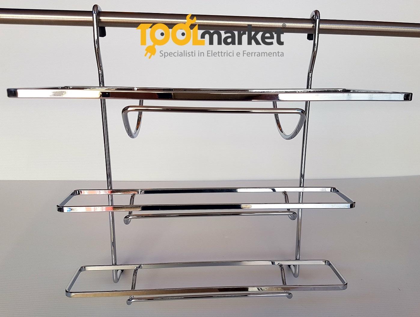 Cestello porta rotoli tre piani per tubo cromo quadro