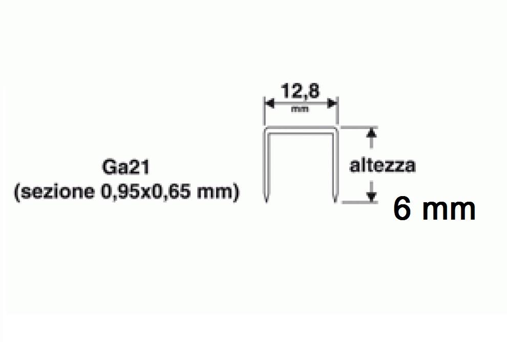 Punti 6 mm per chiodatrice 1000pz  Valex 1455625