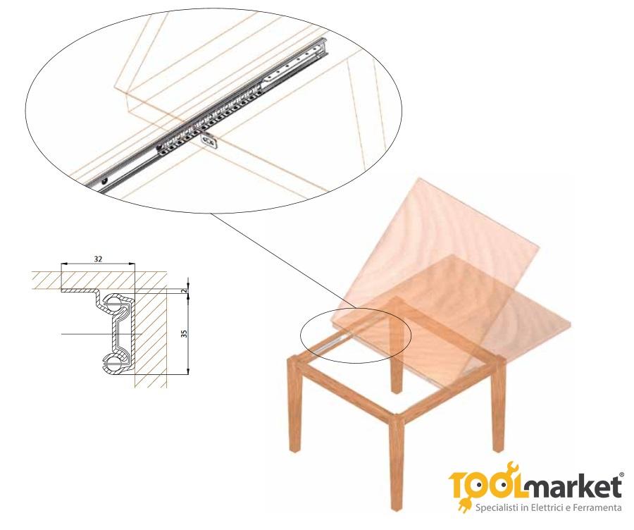 Guide tavolo apertura unilaterale cm80