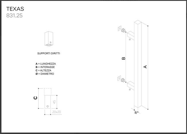 Maniglione in acciaio inox satinato AISI 304 modello TEXAS 831.25 da 500mm