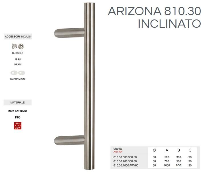 Maniglione inclianto in acciaio inox modello ARIZONA  810.30 da 500mm