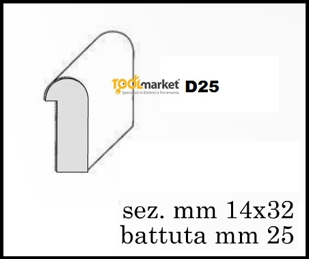 Fermavetro legno sagoma D25