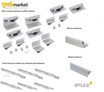 Emuca Kit per armadi 3 ante sovrapposte SPACE + 35mm